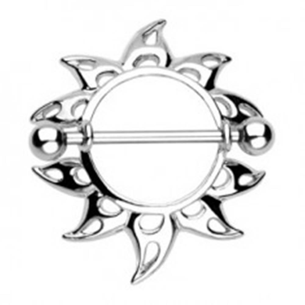 Šperky eshop Piercing do bradavky - slnečnica so slzičkovými výrezmi, 2 kusy