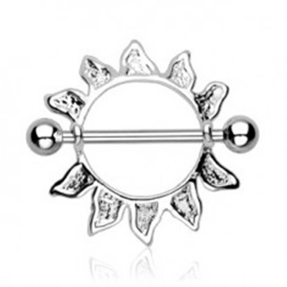 Šperky eshop Piercing do bradavky z chirurgickej ocele - obrys slnka, 2 kusy