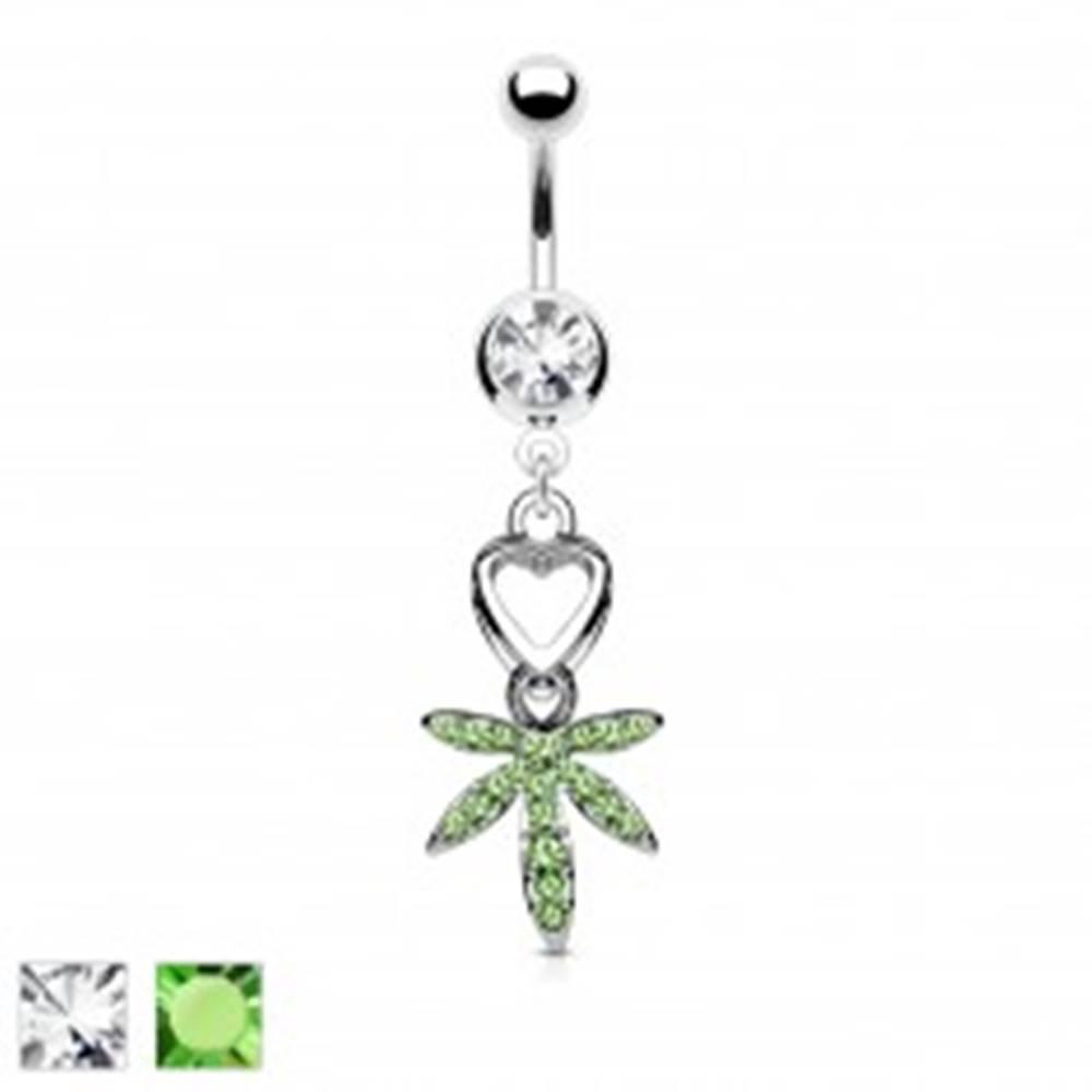 Šperky eshop Piercing do pupku z ocele 316L - srdce a list marihuany - Farba zirkónu: Číra - C