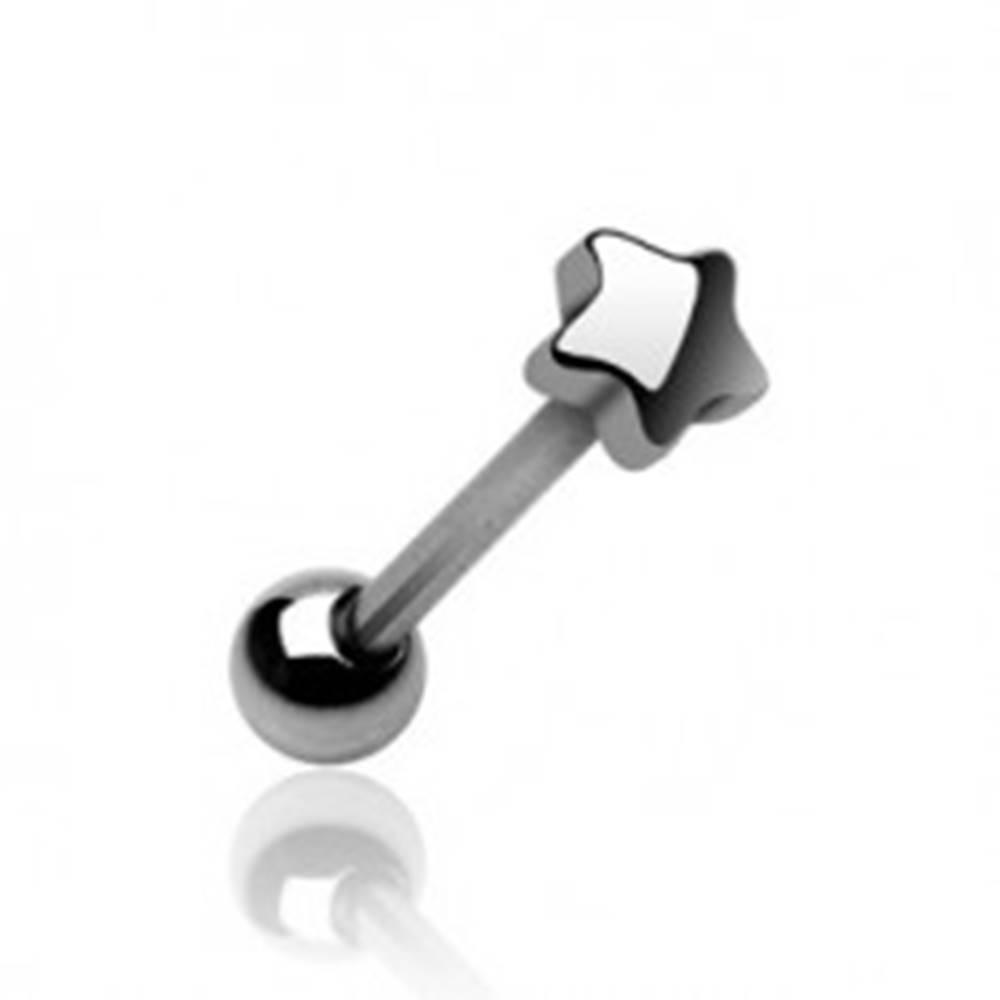 Šperky eshop Piercing jazyka s koncovým tvarom malá hviezdička