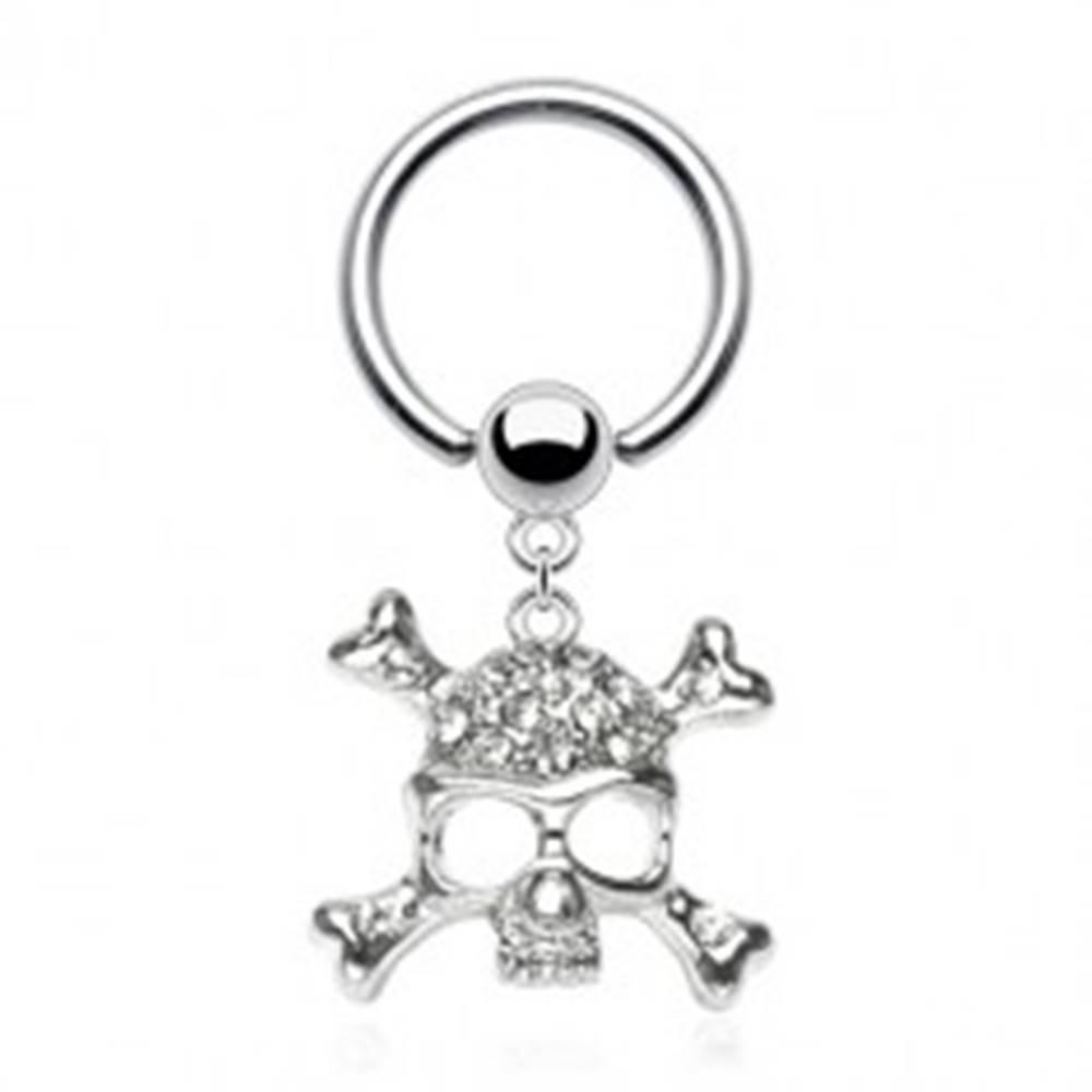 Šperky eshop Piercing z ocele 316L - krúžok s guľôčkou, lebka s kosťami v tvare X