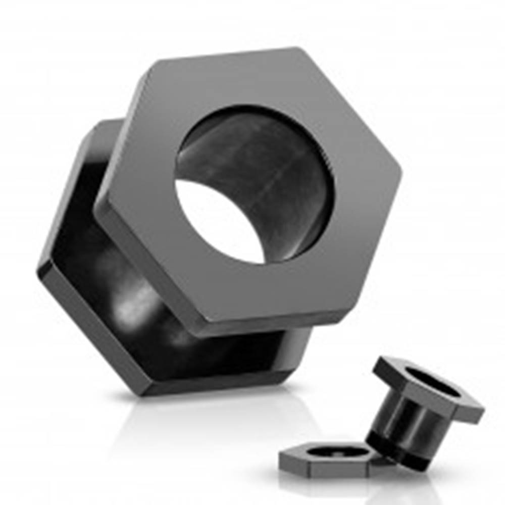 Šperky eshop Tunel do ucha z ocele 316L, anodizovaný titánom, čierna matica so závitmi - Hrúbka: 10 mm