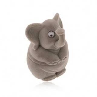 Darčeková krabička na prsteň alebo náušnice - zamatový sivý sloník