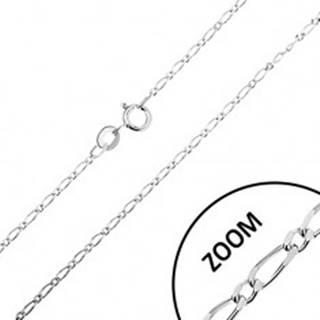 Lesklá strieborná retiazka 925, dlhé a krátke oválne články, šírka 1,3 mm, dĺžka 460 mm