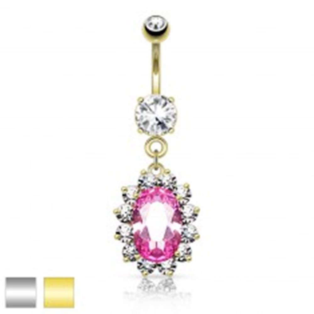 Šperky eshop Oceľový piercing do pupka, ružový zirkónový ovál, číry ligotavý lem - Farba piercing: Strieborná