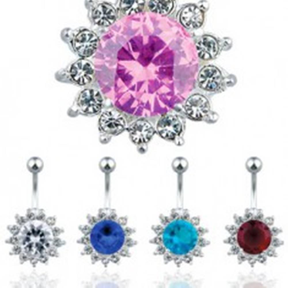 Šperky eshop Oceľový piercing do pupku, farebný zirkónový kvet - Farba zirkónu: Aqua modrá - Q