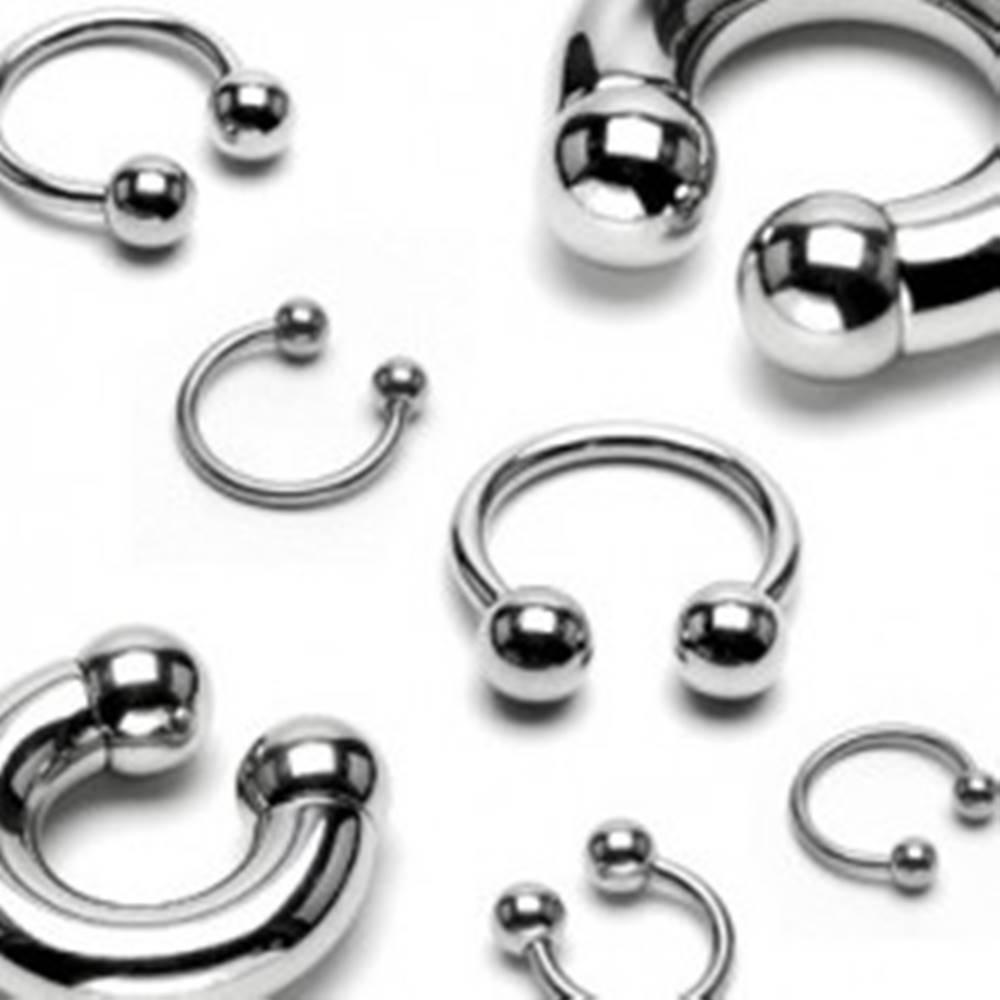 Šperky eshop Polkruhový piercing z chirurgickej ocele, guličky - Rozmer: 1,2 mm x 10 mm x 4 mm