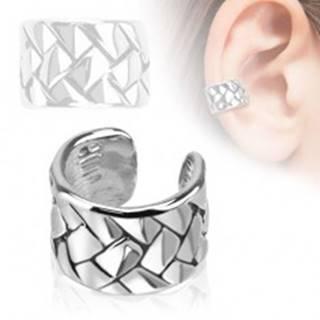 Falošný piercing do ucha, krúžok s pleteným vzorom, ródiovaný