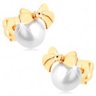 Puzetové náušnice zo žltého 14K zlata - lesklá mašlička, guľatá biela perla