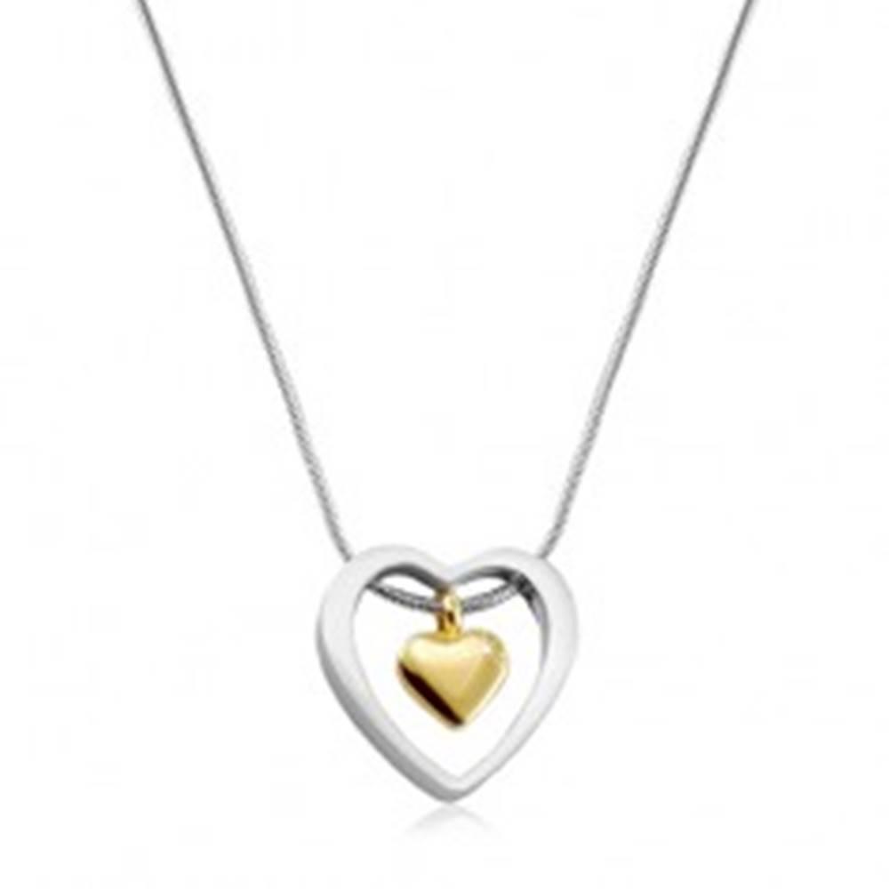 Šperky eshop Náhrdelník z chirurgickej ocele, srdiečko zlatej farby v obryse srdca