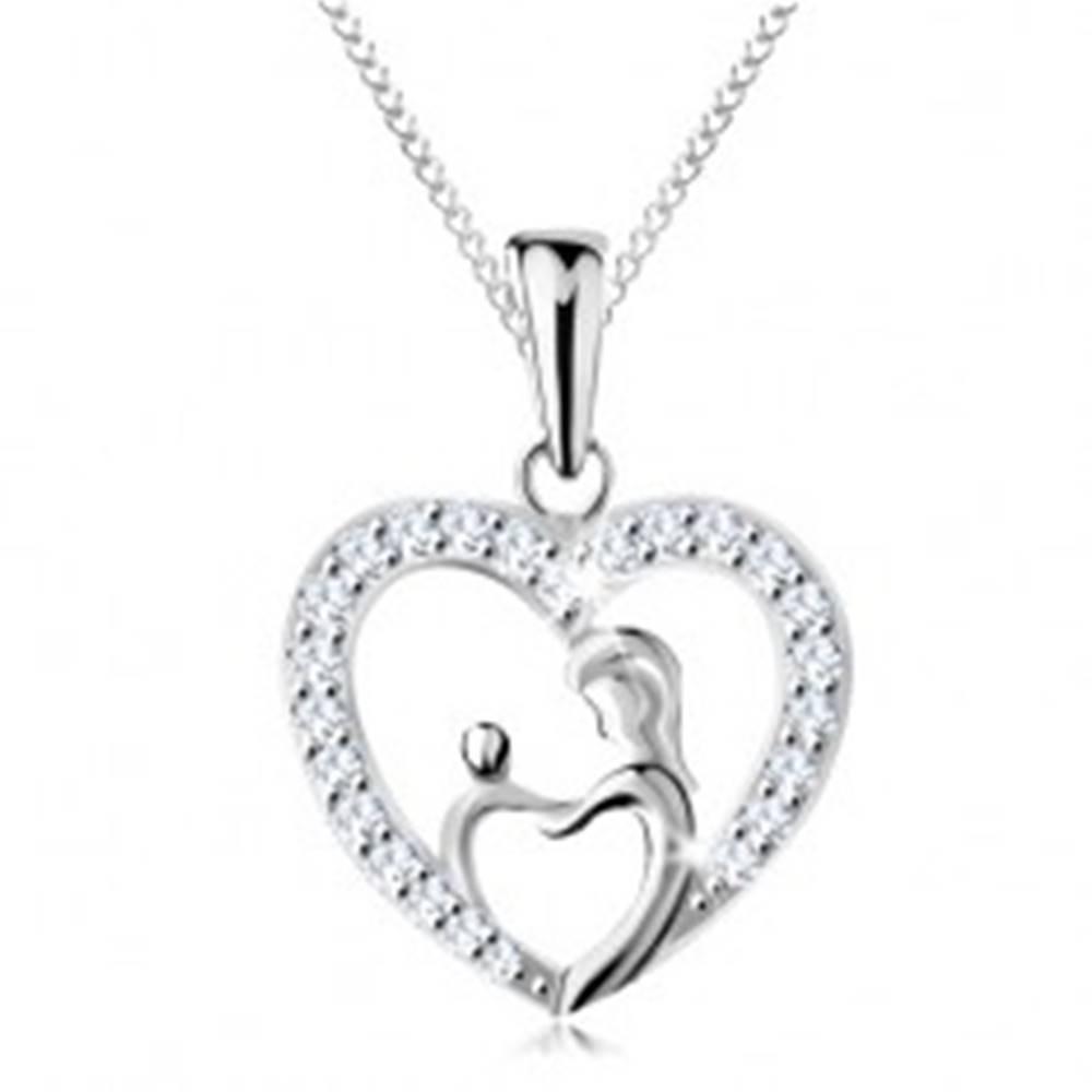 Šperky eshop Náhrdelník zo striebra 925, retiazka a prívesok - matka s dieťatkom v obryse srdca