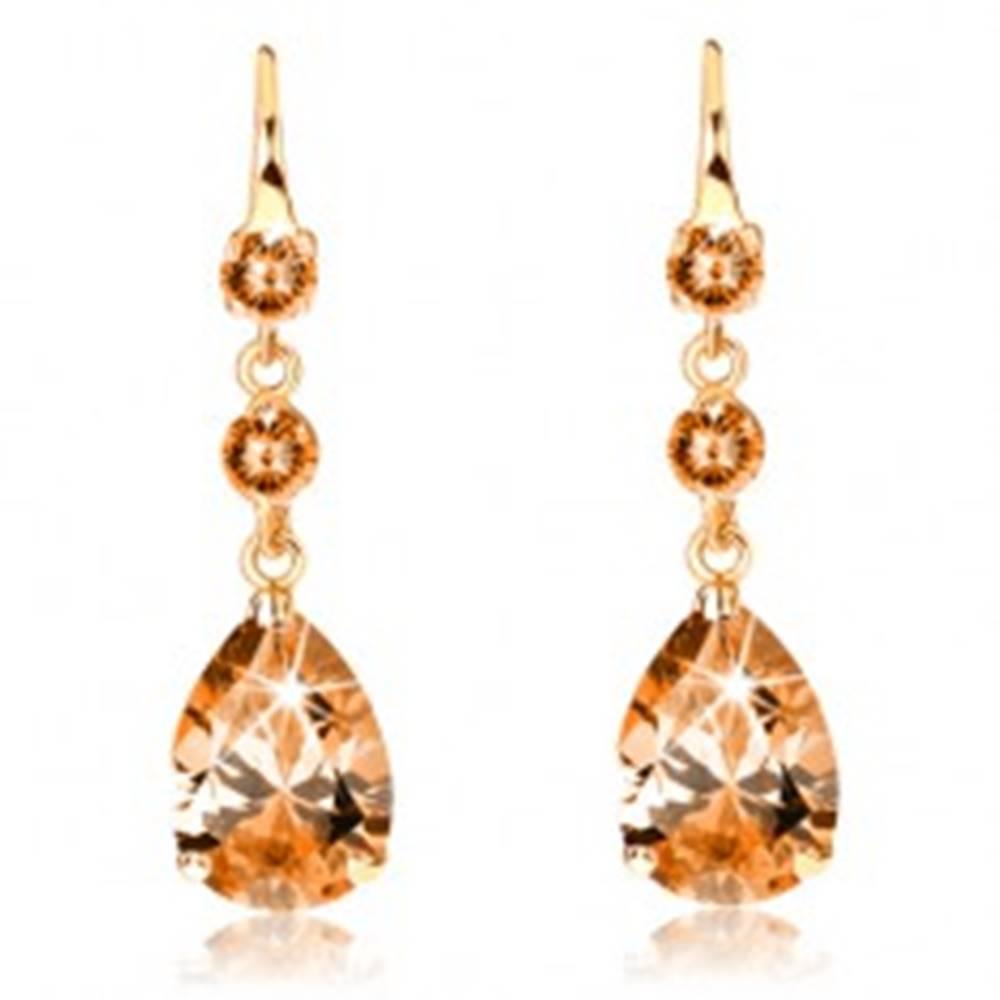Šperky eshop Náušnice v 14K zlate - dva okrúhle zirkóny a brúsená kvapka oranžovej farby