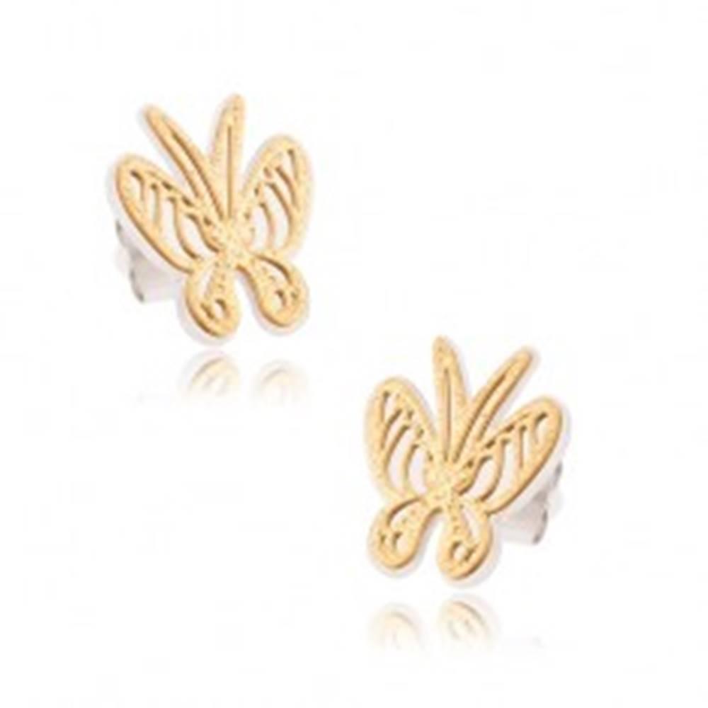 Šperky eshop Náušnice z chirurgickej ocele - dvojfarebné pieskované vyrezávané motýle