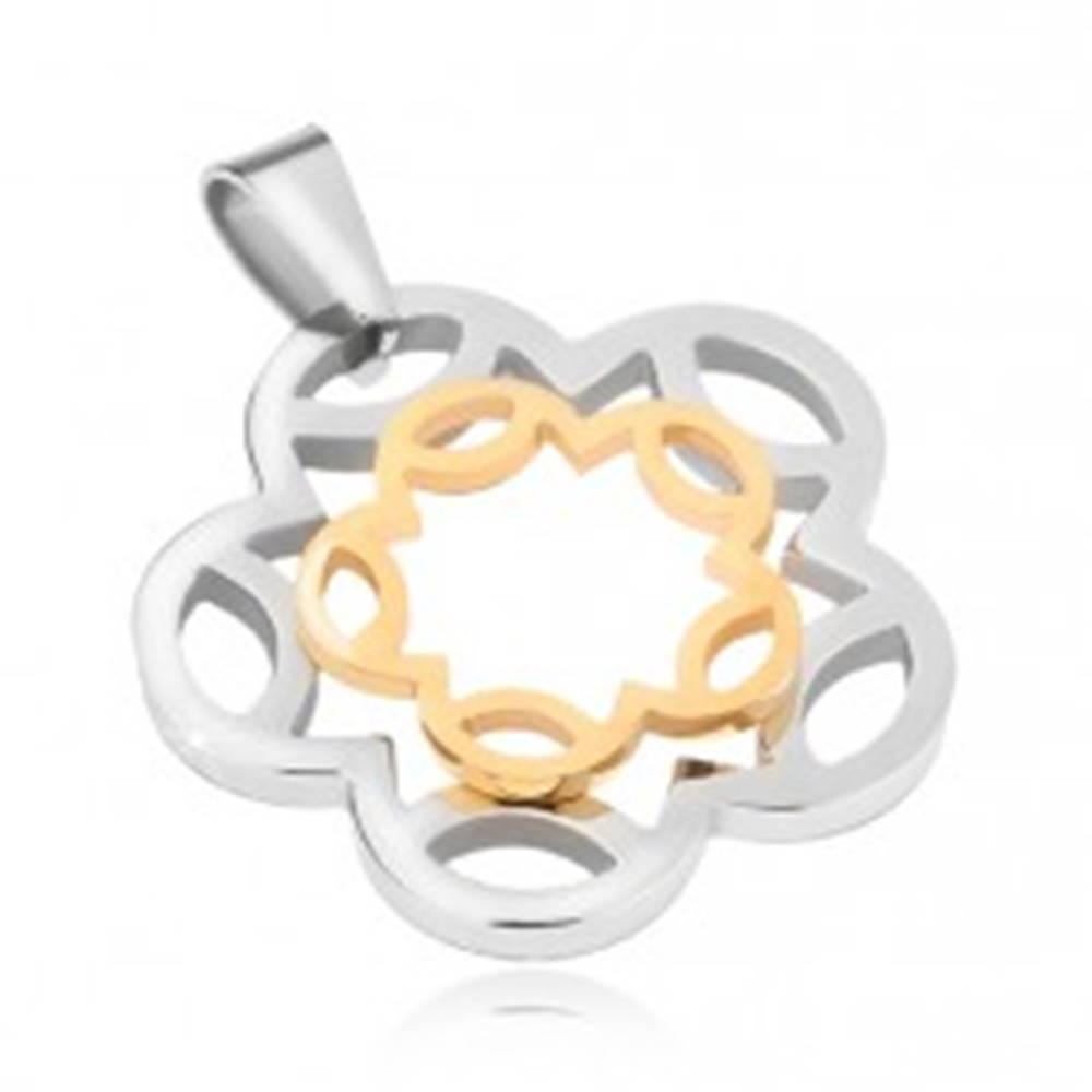 Šperky eshop Oceľový prívesok strieborno-zlatej farby, kontúry kvetu