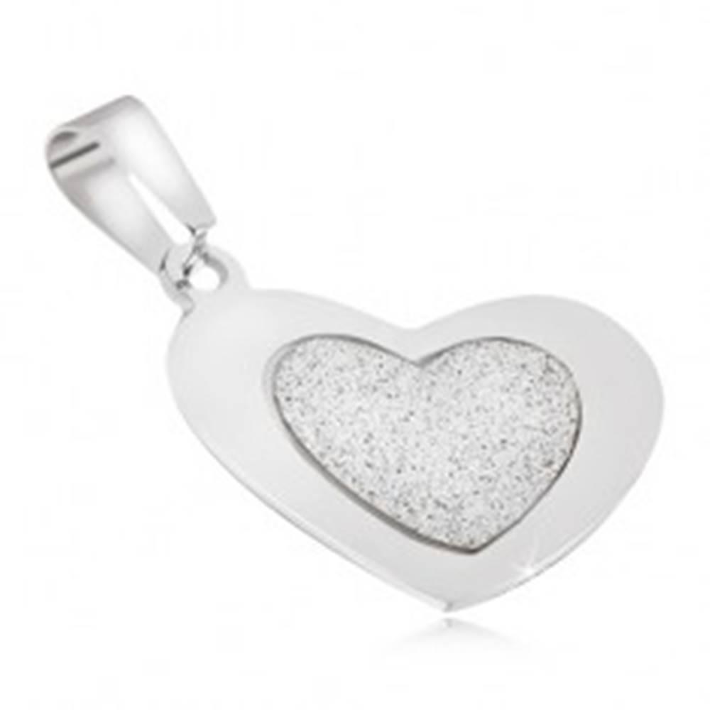 Šperky eshop Prívesok z ocele - pieskované srdce s lesklým hladkým rámom