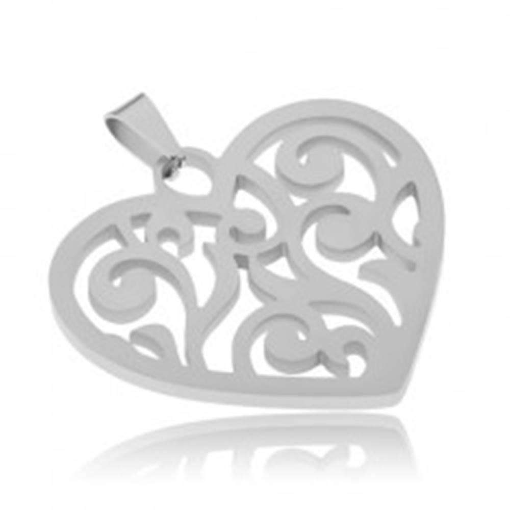 Šperky eshop Prívesok z ocele, súmerné srdce s vyrezávanými líniami
