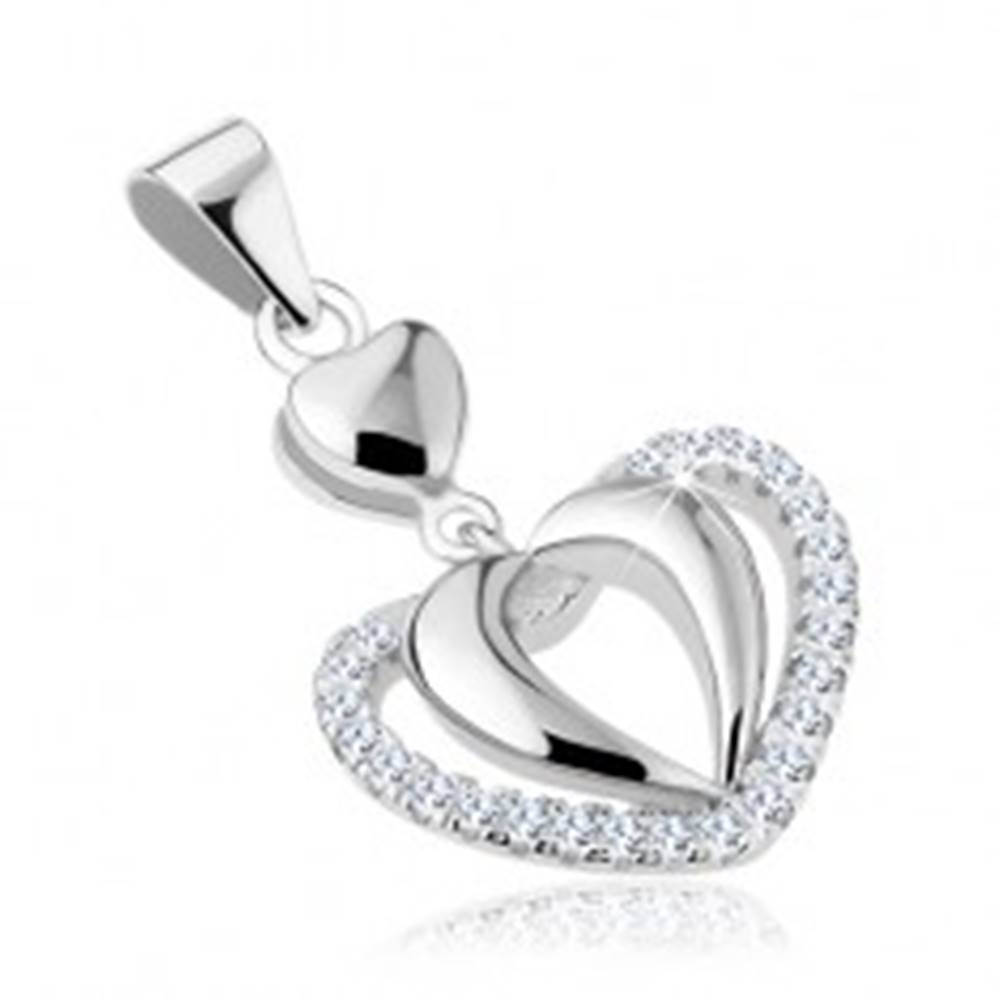 Šperky eshop Prívesok zo striebra 925, zdvojená kontúra srdca, línie čírych zirkónov