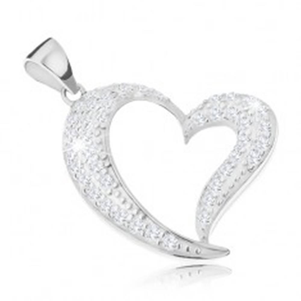 Šperky eshop Strieborný prívesok 925, asymetrická kontúra srdca zdobená čírymi zirkónmi