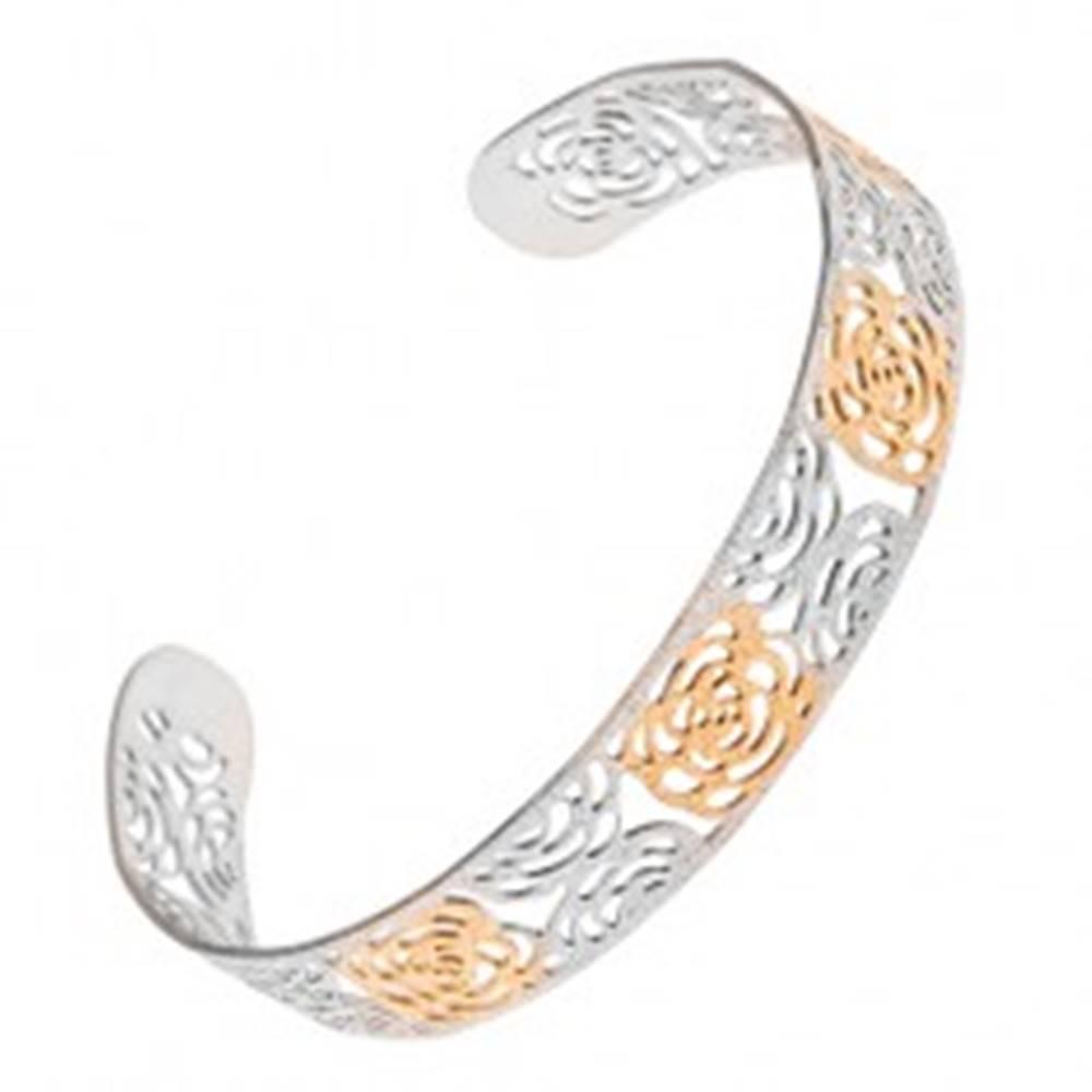 Šperky eshop Vyrezávaný pieskovaný náramok zlato-striebornej farby z ocele, motív ruží