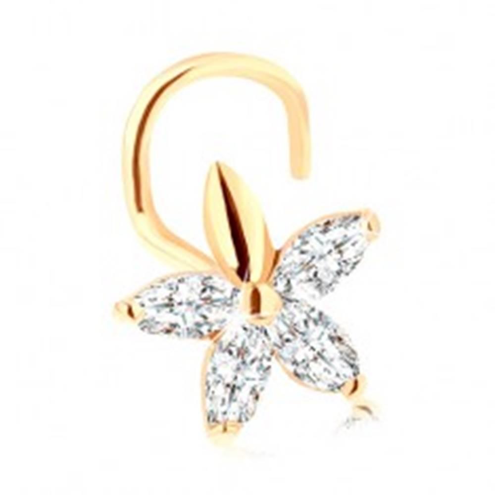 Šperky eshop Zahnutý piercing do nosa zo zlata 585 - ligotavý kvietok z čírych zirkónov