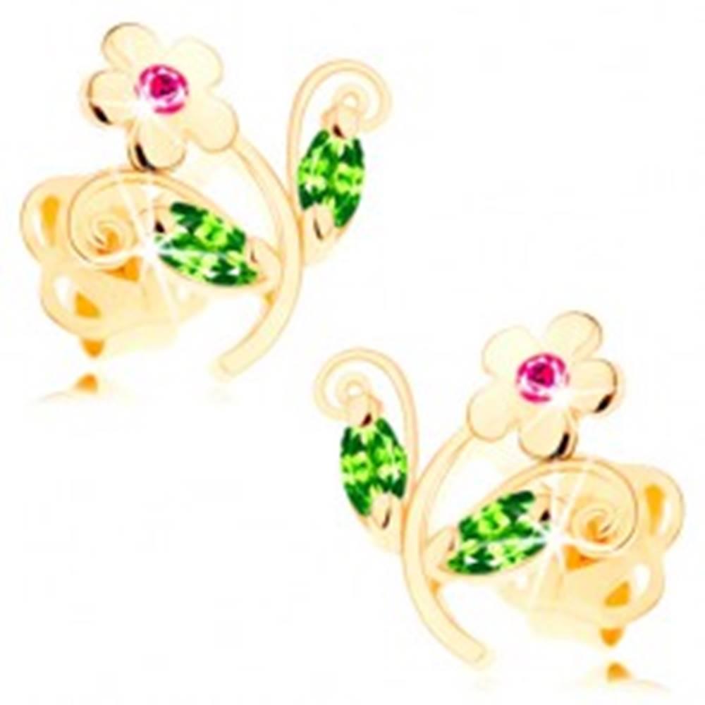 Šperky eshop Zlaté náušnice 585 - ligotavý farebný kvietok, ružové a zelené zirkóny
