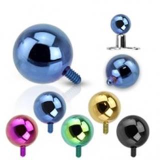 Gulička do implantátu z ocele 316L - anodizovaný povrch, rôzne farby, 4 mm - Farba piercing: Čierna
