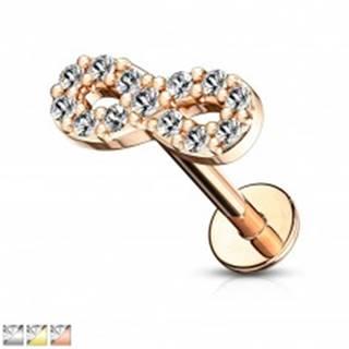 Piercing do brady, pery, alebo ucha - symbol nekonečna so zirkónmi, dĺžka 6 mm - Farba piercing: Ružová Zlatá