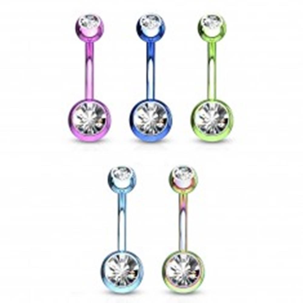 Šperky eshop Oceľový piercing do brucha - guličky s ligotavými zirkónmi, rôzne farby, dĺžka 10 mm - Farba piercing: Dúhová
