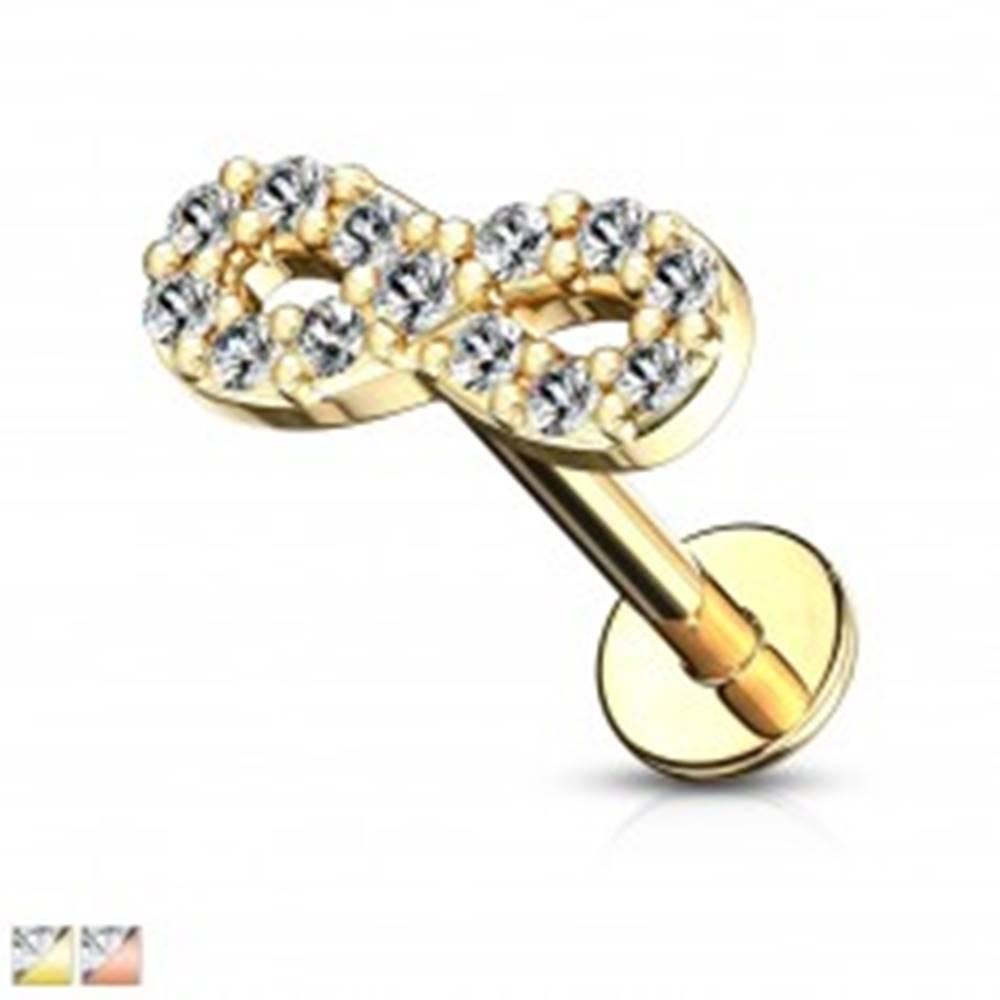 Šperky eshop Piercing do brady, pery, alebo ucha - symbol nekonečna so zirkónmi, dĺžka 8 mm - Farba piercing: Ružová Zlatá
