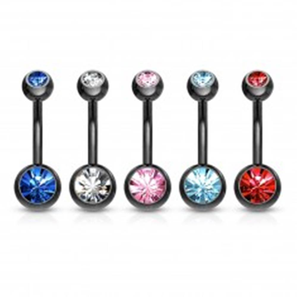 Šperky eshop Piercing do bruška z ocele 316L - banán čiernej farby, farebné zirkóny, dĺžka 10 mm - Farba zirkónu: Aqua modrá - Q