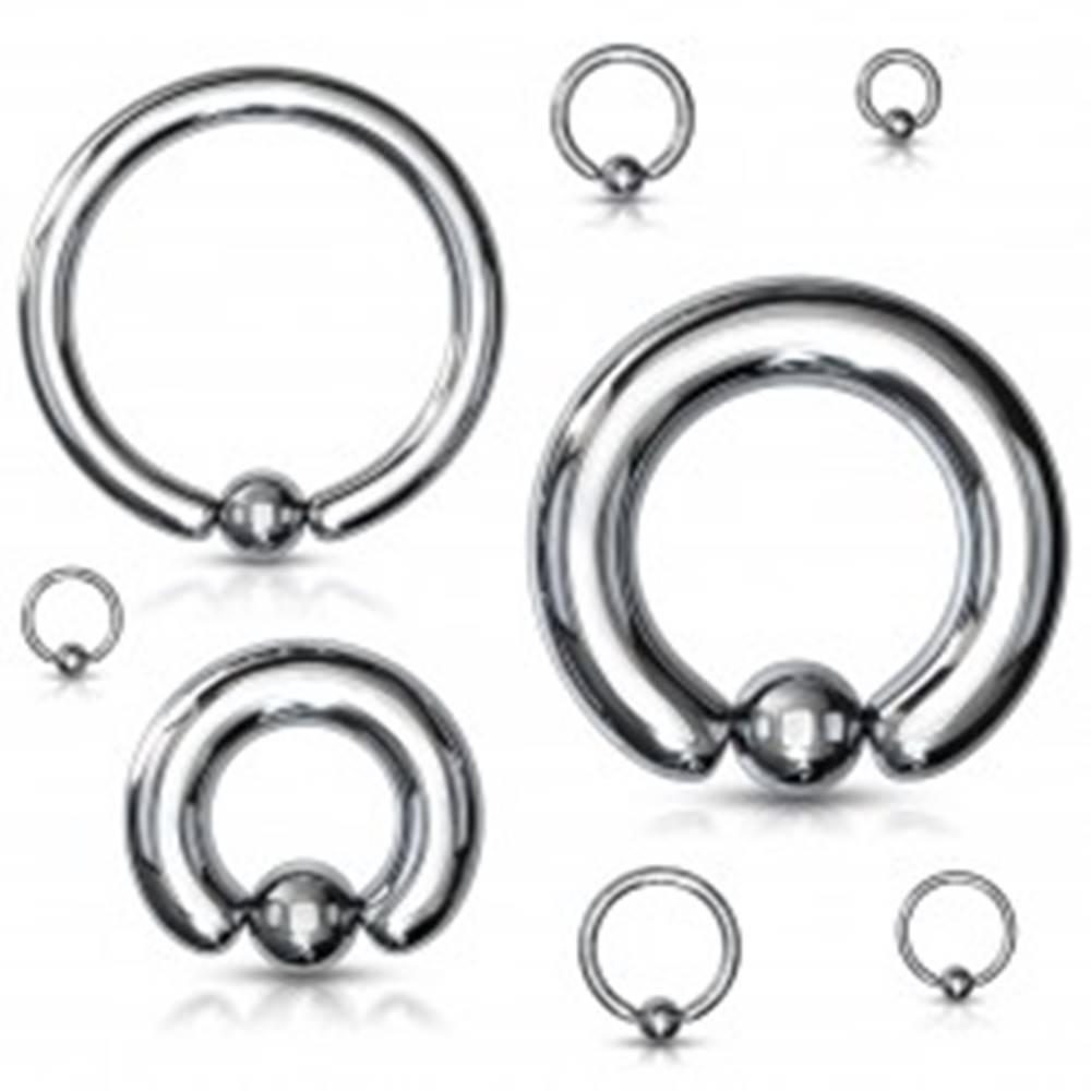 Šperky eshop Piercing z ocele 316L - jednoduchý krúžok s guľočkou, strieborná farba, hrúbka 5 mm - Hrúbka x priemer x veľkosť guličky: 5 mm x 12 mm x 8 mm