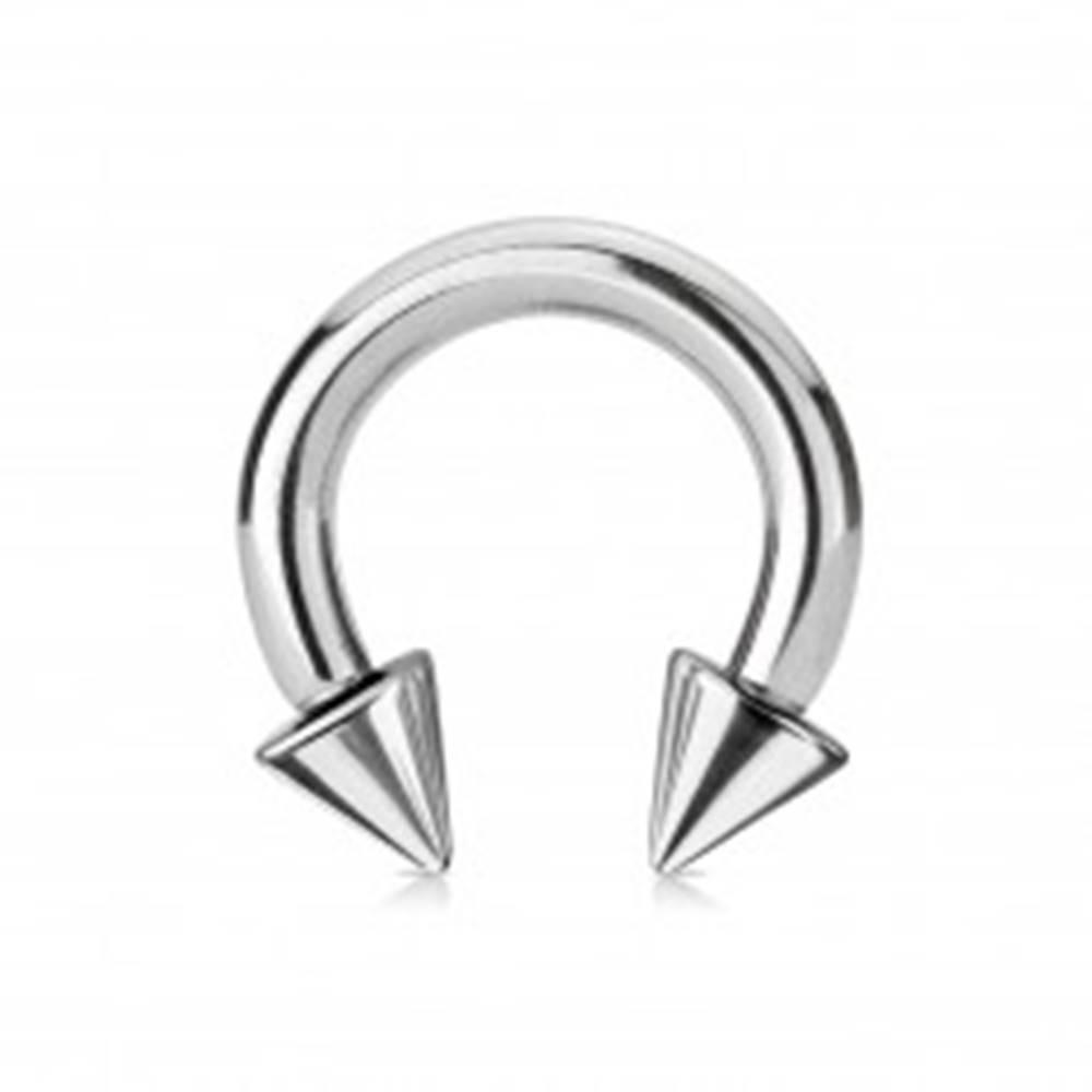 Šperky eshop Piercing z ocele 316L - lesklá podkova s hrotmi, strieborná farba, hrúbka 5 mm - Rozmer: 5 mm x 12 mm x 8x8 mm