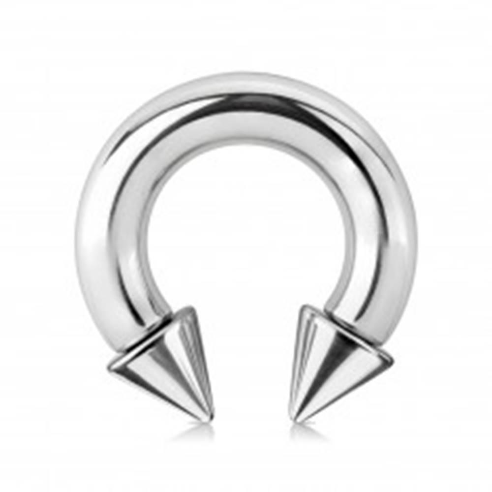 Šperky eshop Piercing z ocele 316L - lesklá podkova s hrotmi, strieborná farba, hrúbka 6 mm - Rozmer: 6 mm x 12 mm x 9x9 mm