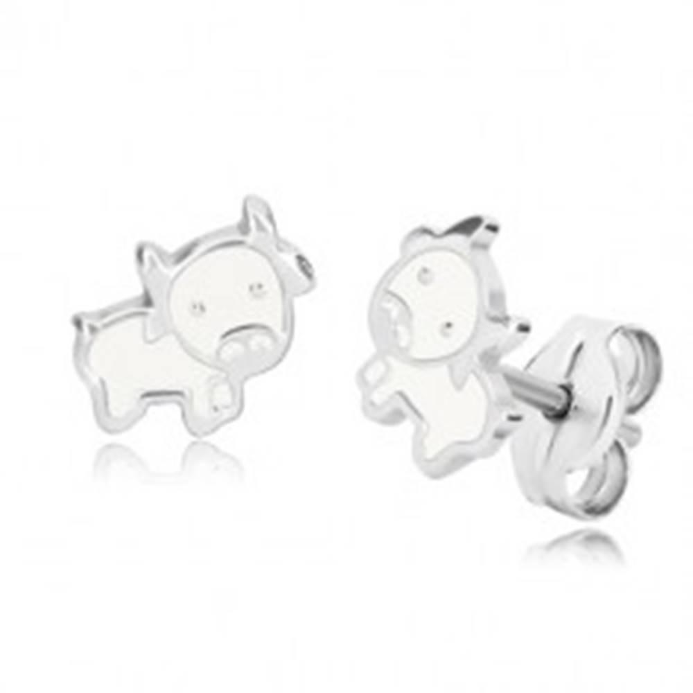 Šperky eshop Náušnice zo striebra 925 - kravička, lesklá kontúra s bielou glazúrou, puzetky