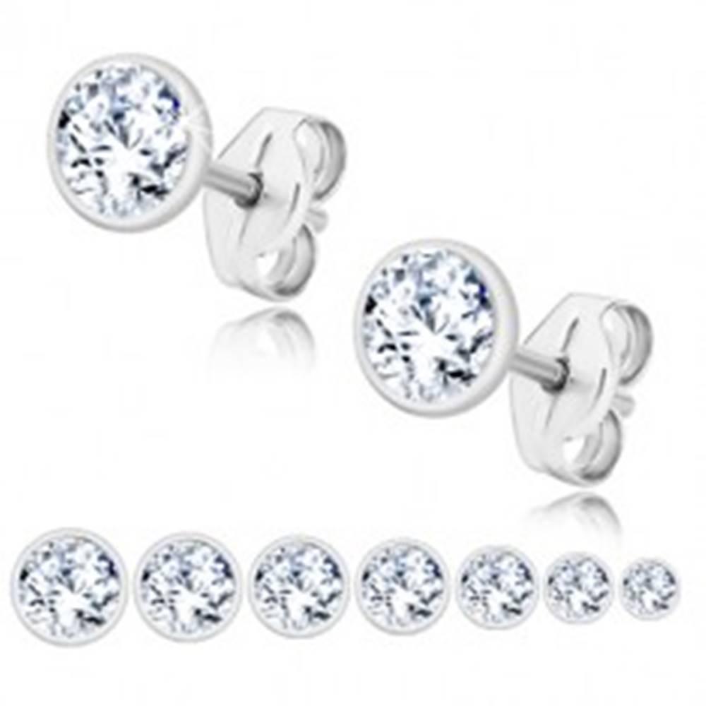 Šperky eshop Puzetové náušnice zo striebra 925, ligotavý zirkón čírej farby, okrúhla objímka - Veľkosť zirkónu: 2 mm