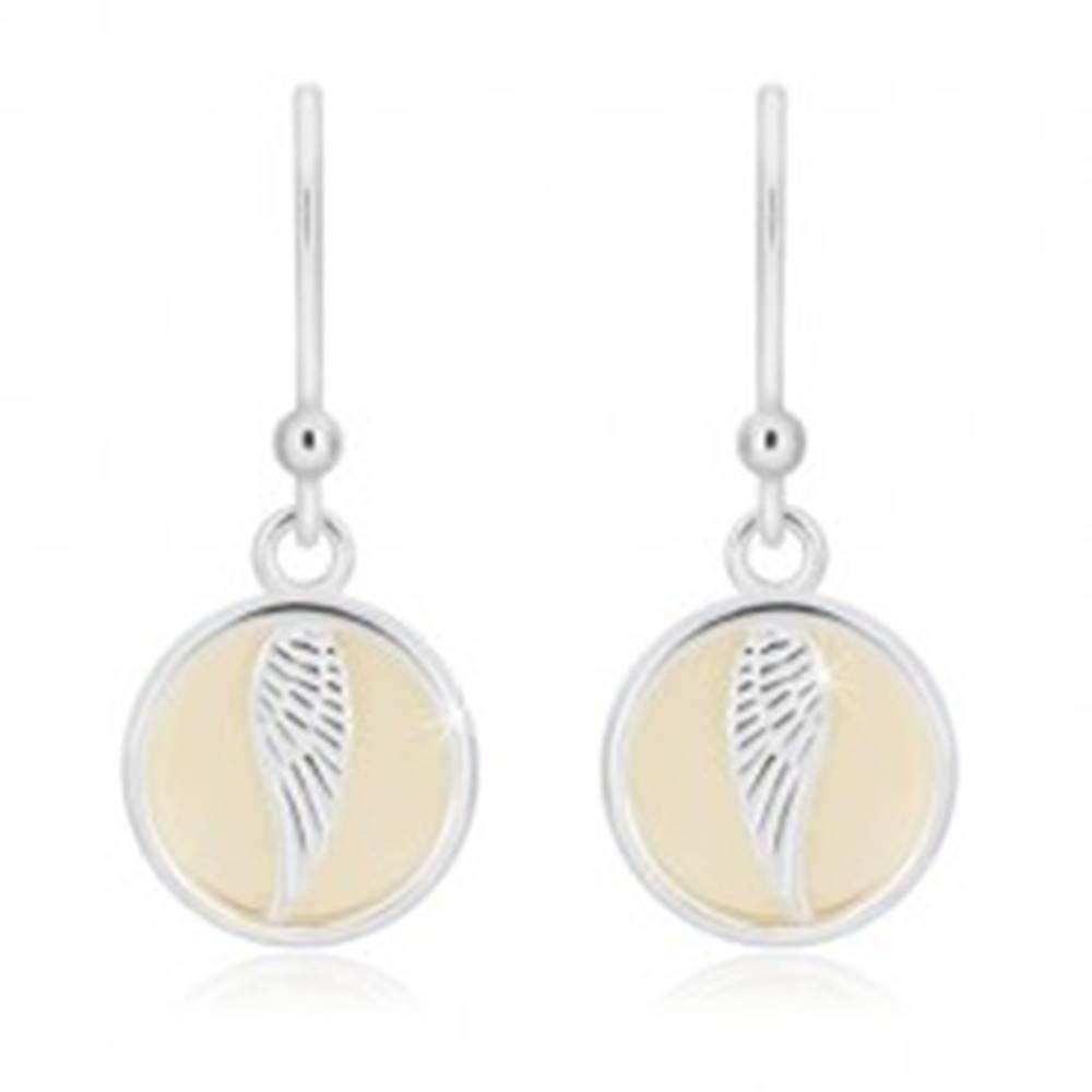 Šperky eshop Strieborné náušnice 925 - kruh s anjelským krídlom, krémová glazúra, háčiky