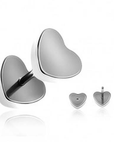 Oceľový fake plug do ucha - matné symetrické srdce