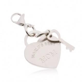 Oceľový prívesok na kľúčenku, srdce s kľúčom a nápisom WORLD´S BEST MOM