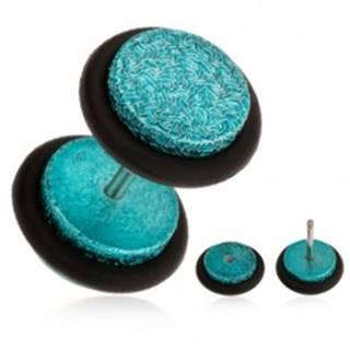 Tyrkysový fake plug do ucha z akrylu, pieskovaný povrch, gumičky