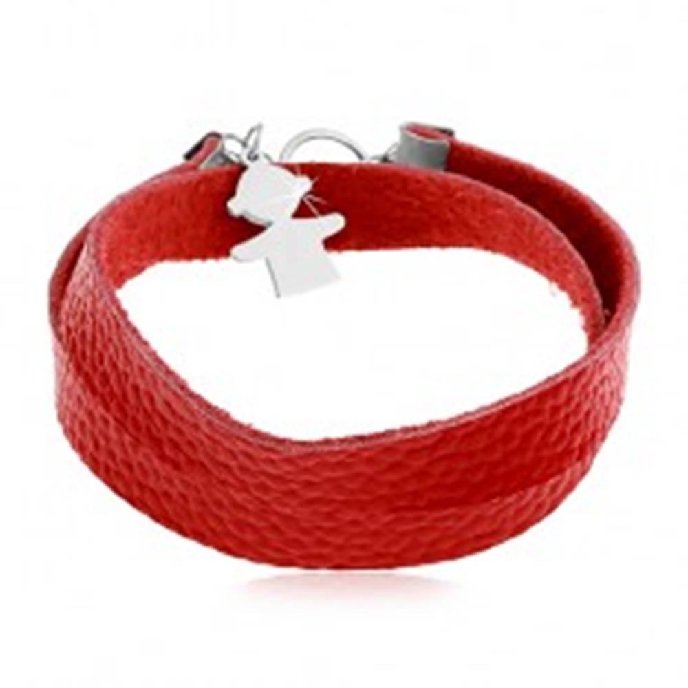 Šperky eshop Červený náramok z umelej kože, prívesok a zapínanie v striebornej farbe