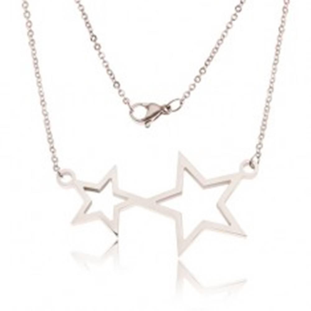 Šperky eshop Náhrdelník z ocele, retiazka a kontúry dvoch hviezd