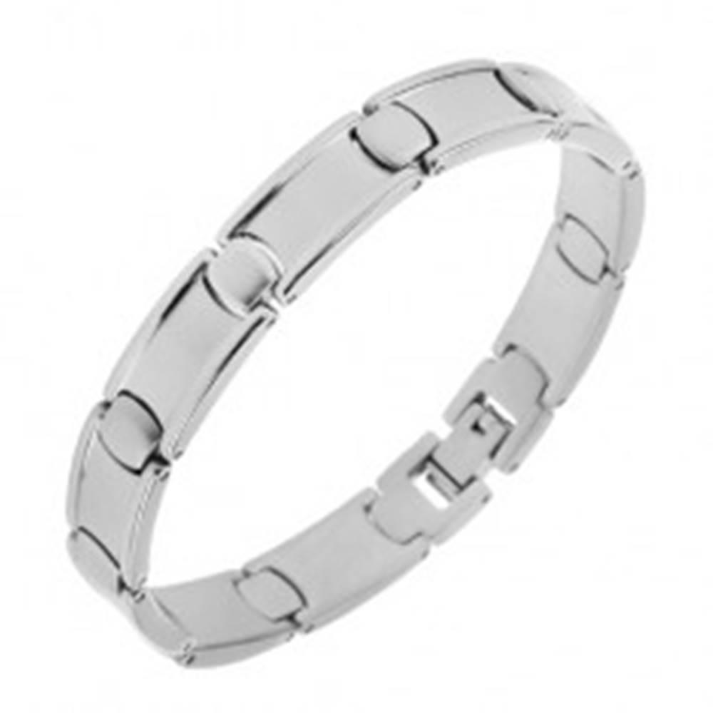 Šperky eshop Oceľový náramok, podlhovasté a oválne články, zrkadlovolesklý povrch