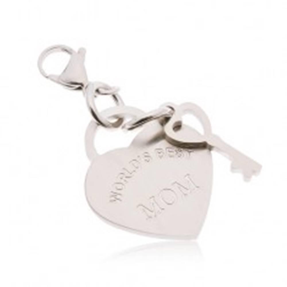 Šperky eshop Oceľový prívesok na kľúčenku, srdce s kľúčom a nápisom WORLD´S BEST MOM