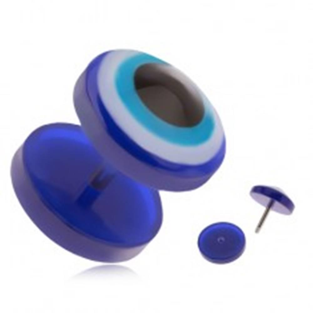 Šperky eshop Okrúhly akrylový fake plug do ucha, modré oko