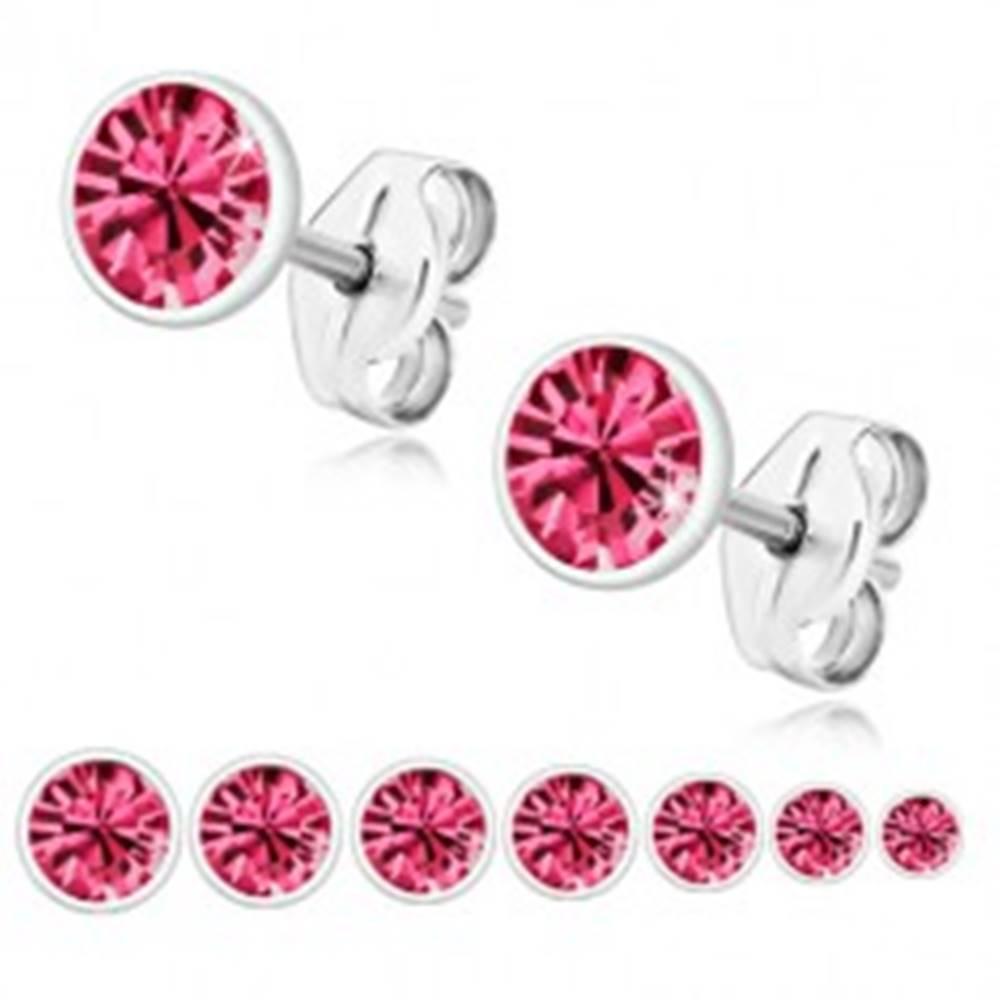 Šperky eshop Strieborné náušnice 925 - trblietavý zirkón ružovej farby v okrúhlej objímke - Veľkosť zirkónu: 2 mm