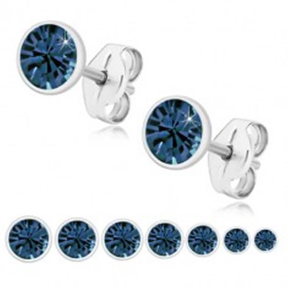 Šperky eshop Strieborné náušnice 925 - žiarivý zirkón tmavomodrej farby, okrúhla objímka - Veľkosť zirkónu: 2 mm