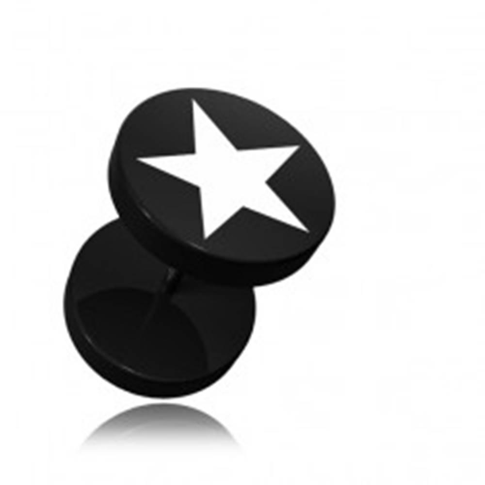 Šperky eshop Akrylový čierny falošný piercing do ucha, potlač päťcípa hviezda
