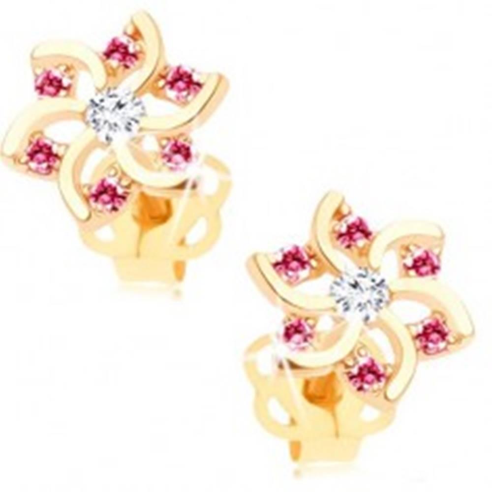 Šperky eshop Náušnice v žltom 14K zlate - kvet s výrezmi a zirkónikmi ružovej a čírej farby