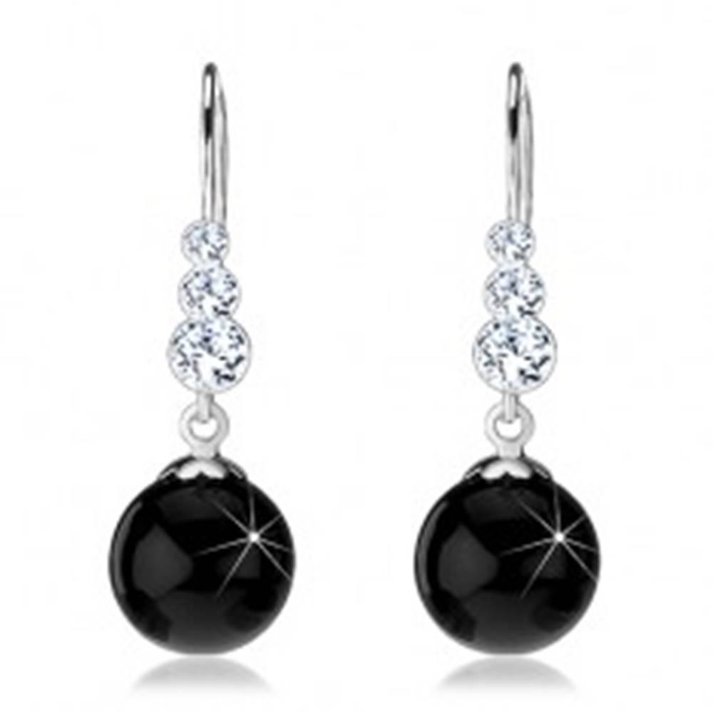Šperky eshop Strieborné náušnice 925, číre okrúhle Swarovski krištále, čierna gulička, afroháčik