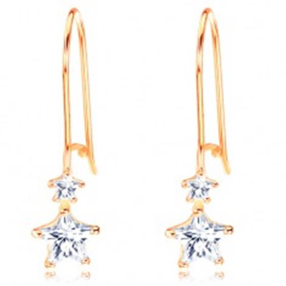 Šperky eshop Zlaté náušnice 585 - dve ligotavé hviezdičky v čírej farbe, háčiky